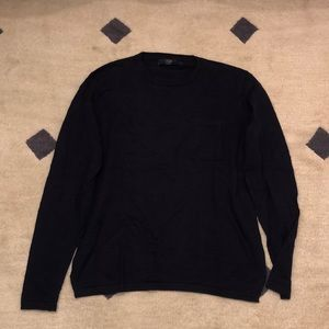 Textured cotton sweater with pocket